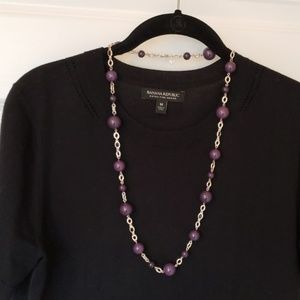 Banana Republic silver chain purple bead necklace